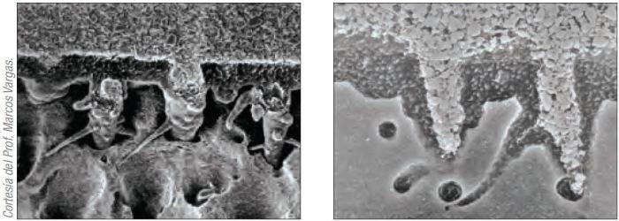 Imágen SEM de espacios microscópicos que Peak Universal Bond puede alcanzar