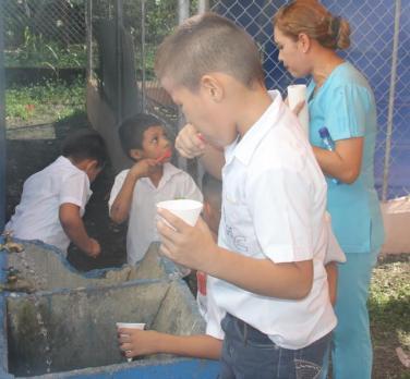 Niños cepillan los dientes antes del sellante